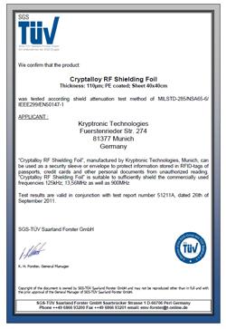 Cryptalloy TUV certifikace